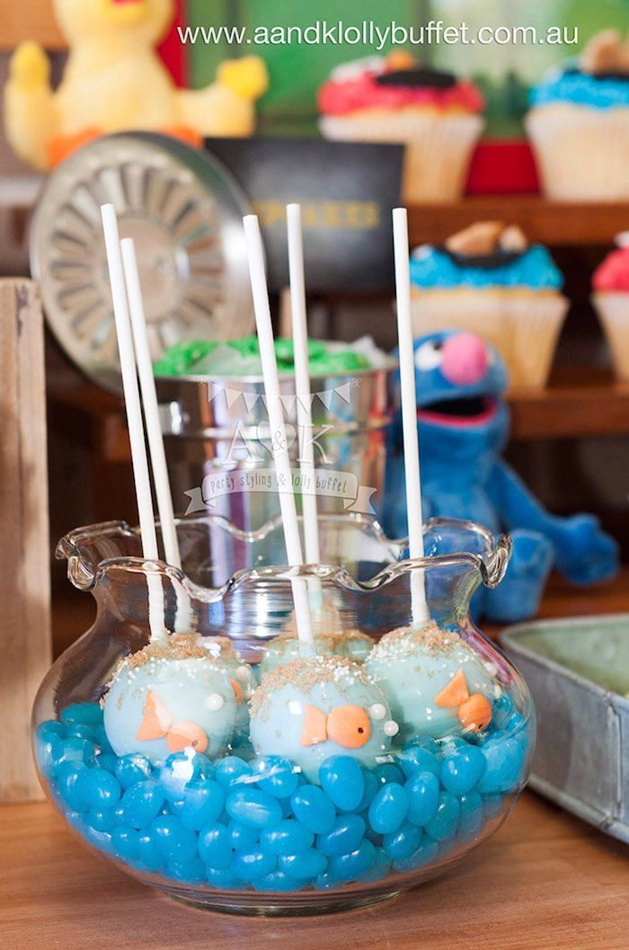 Dorothy Cake Pops from a Vintage Sesame Street Birthday Party