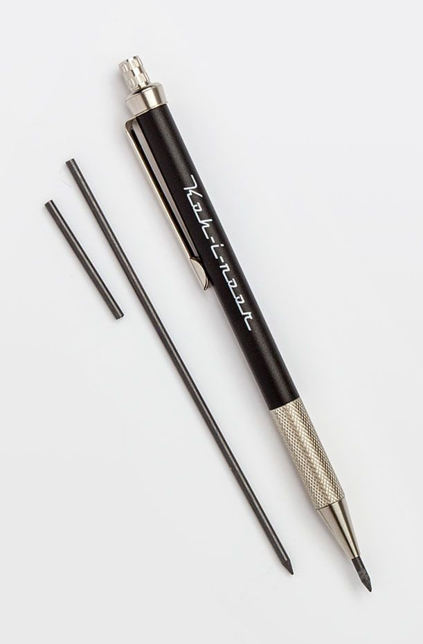 KOH-I-NOOR - 5608 notebook pencil, 2.0mm. Black body with stylised brand marking, knurled grip and sharpener inside the top-knocker. Though it looks like a leadholder, the clutch is a ratchet-advance, so it operates like a normal mechanical pencil.