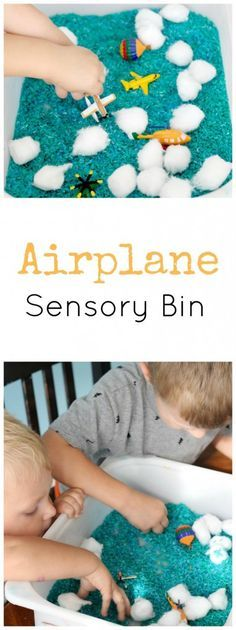 Airplane Sensory Bin, great for preschoolers that are learning about flight!