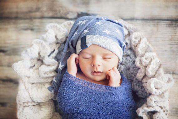 newborn baby boy strech cotton blue with white stars hat
