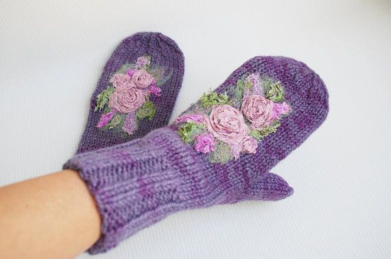 Lavender Hand Knitted Wool Mittens with flowers