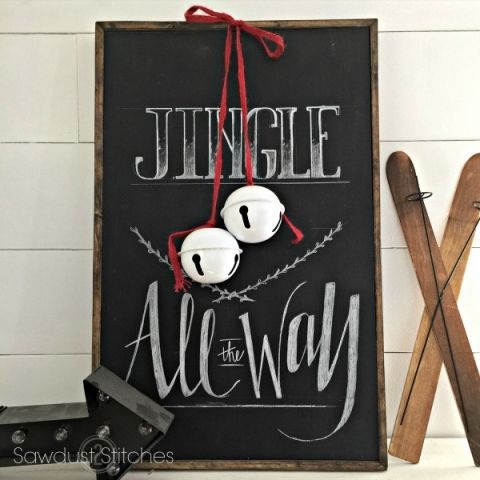 Super cute Jingle all the Way vignette - mini wood ski, sign, bells