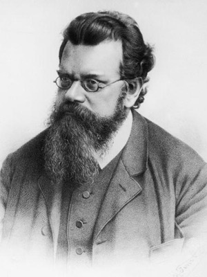 Ludwig Boltzmann (1844-1906) founded statistical mechanics, which describes large numbers of atoms by using averages. His most important contributions were to the study of kinetic energy, including the Maxwell-Boltzmann distribution for molecular speeds in a gas. He also showed that a system's entropy is a measure of its disorder, and that the amount of disorder in the universe tends to increase. This lithograph by Rudolf Fenzl was created around 1898.