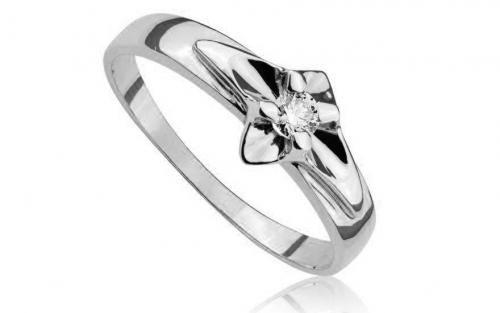 Prsteň s diamantom z bieleho zlata Allways young