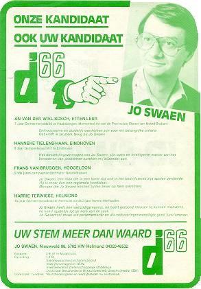 Dit verkiezingsaffiche werd tijdens het congres in Dordrecht op 17 januari 1981 uitgedeeld