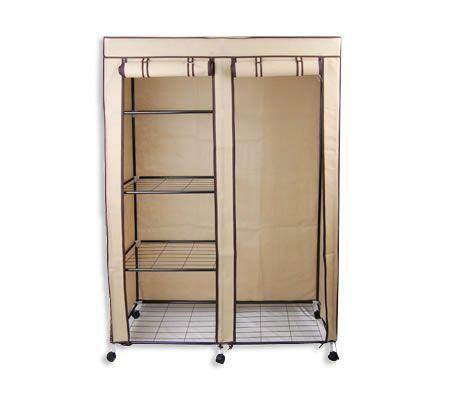 Non-woven Cover Steel Tube Storage Wardrobe 4-level Storage with Drape - Beige - NWD-118beige