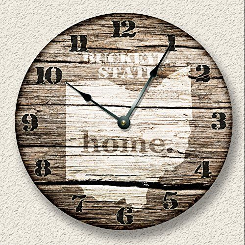 OHIO State Wall Clock old weathered boards rustic cabin country decor Fancy This http://www.amazon.com/dp/B00T57GXB4/ref=cm_sw_r_pi_dp_BC40vb04WZA65