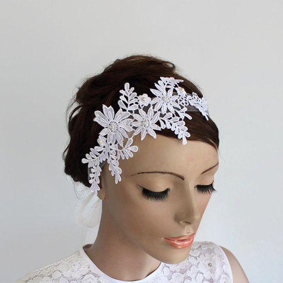 Venetian Lace Applique Bridal Headband, Organza Ribbon Fascinator, Classic White Floral  Weddings Head Piece, OOAK