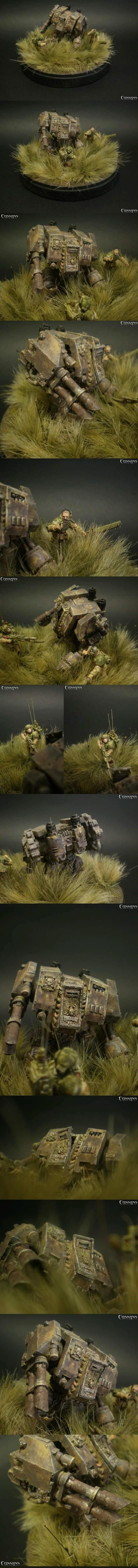 28mm, Diorama, Dreadnought, Imperial Guard, Space Marines, Warhammer 40,000