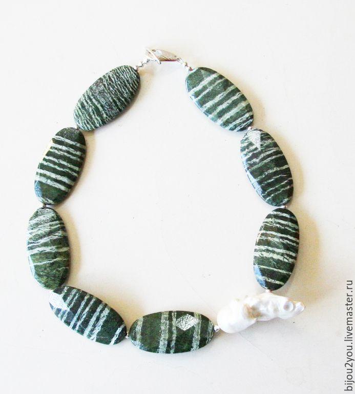 Купить Цветок кактуса 2 - зеленый цвет, зеленый камень, зеленое колье, крупное украшение
