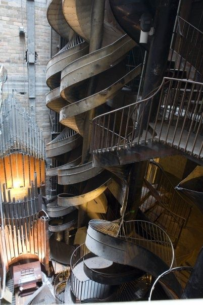 St. Louis City Museum's seven story slide- Housed in the 600,000 square-foot former International Shoe Company, the museum is an eclectic mixture of children's playground, funhouse, surrealistic pavilion, and architectural marvel made out of unique, found objects.  In St. Louis, Missouri.