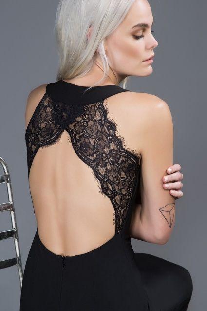 Dantel Detaylı Siyah Elbise | Trendyol.