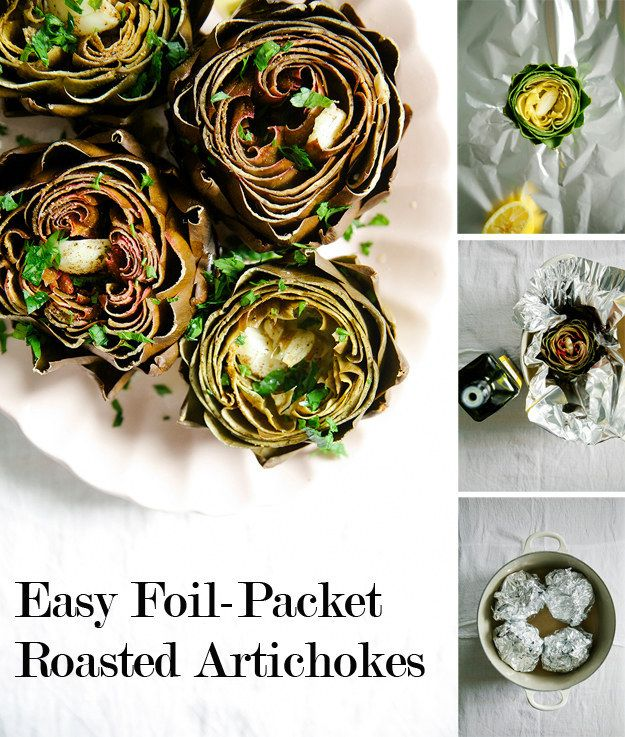 Oven-roasted artichokes with lemon, garlic, and parsley