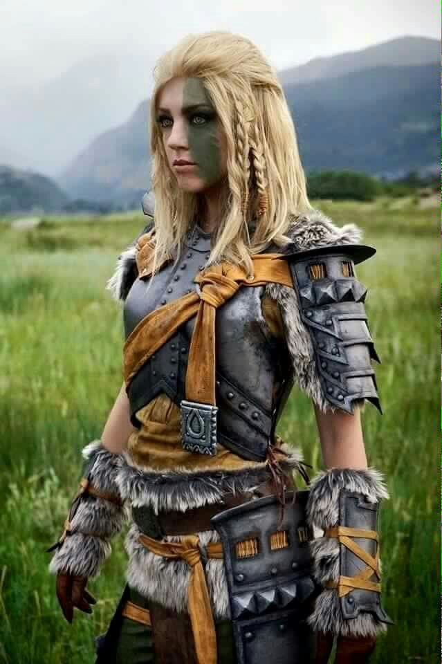 Sort of how Asgerd's breastplate looks but lighter silver with blue spots and it covers more of her stomach as well