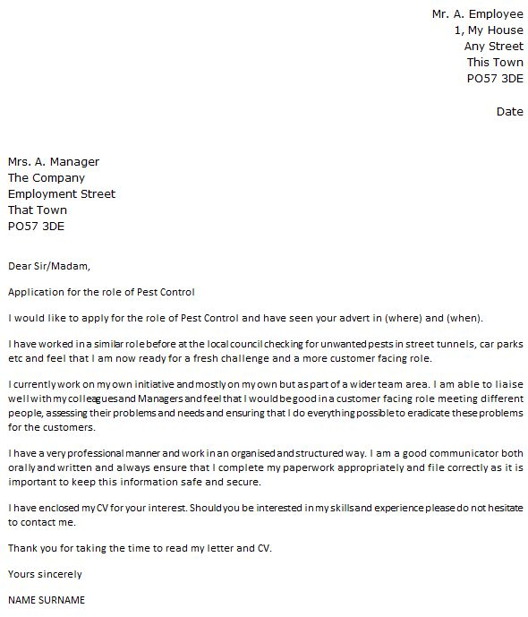Pest Control Cover Letter Example Icoverg New Zealand Templates