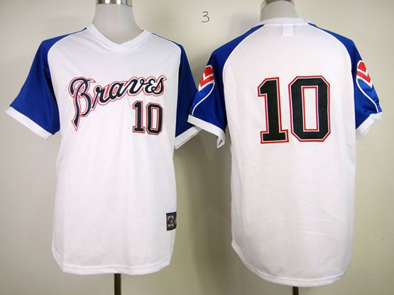 MLB ATLANTA BRAVES #10 JONES Throwbacks1974 WHITE&blue sleeve JERSEY(no name)