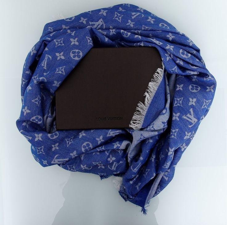 Хлопковый палантин Louis Vuitton синий с серым. Размер 140х140см #18990