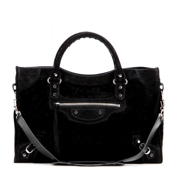 Balenciaga Classic City Shearling Tote ($1,755) ❤ liked on Polyvore featuring bags, handbags, tote bags, totes, black, balenciaga tote, shearling handbag, balenciaga handbags, balenciaga purse and black handbags
