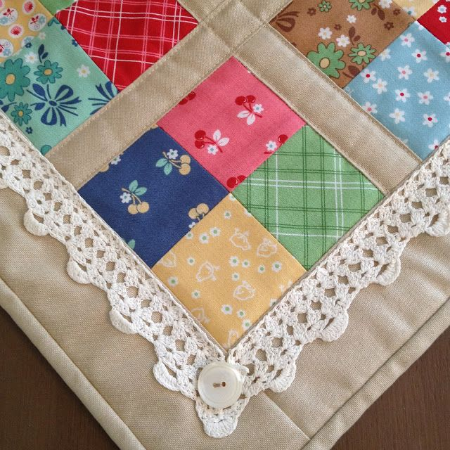 """Mini """"coffee time quilt"""" by Carried Away Quilting using """"Calico Days"""" fabric by Lori Holt (Bee in my Bonnet) for Riley Blake Designs. Embellished with vintage crocheted trim and buttons."""
