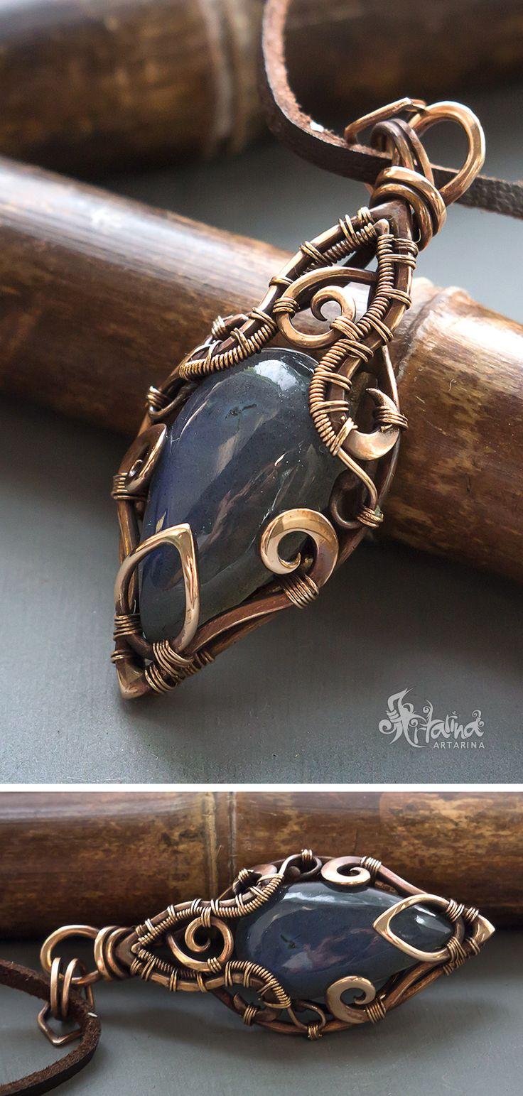 Blue labradorite wire wrapped pendant