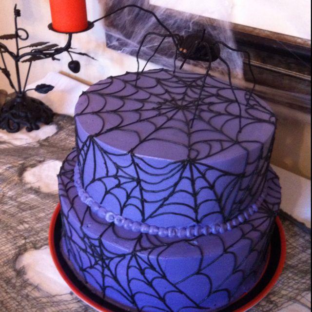 Purple Halloween Spider Cake