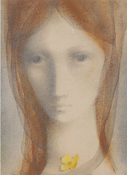 By Ludmila Jirincova-Novakova (Czech, 1912–1994), Dívka s blatouchem (Girl with buttercups), pastel on paper.
