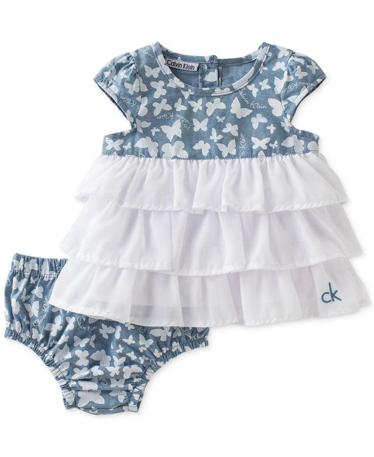 Calvin Klein Baby Girls' Butterfly Dress & Diaper Cover Set