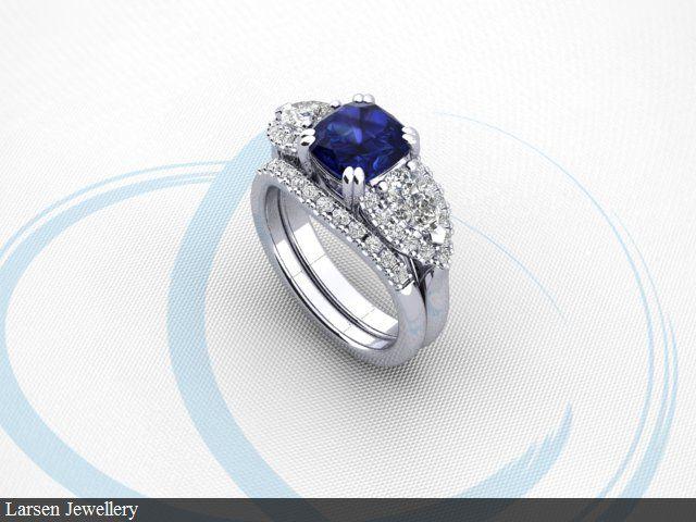 Sapphire engagement ring 3D design drawing by Larsen Jewellery. www.larsenjewellery.com.au #sapphires #sapphirerings #bluesapphires #engagementrings #weddingsets
