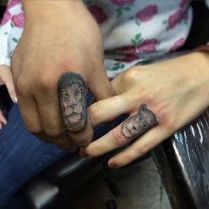 Couple Lion and Lioness Finger Tattoos