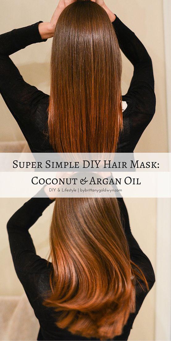 Make an easy coconut oil and argan oil hair mask to promote healthier hair! | diy, homemade hair mask