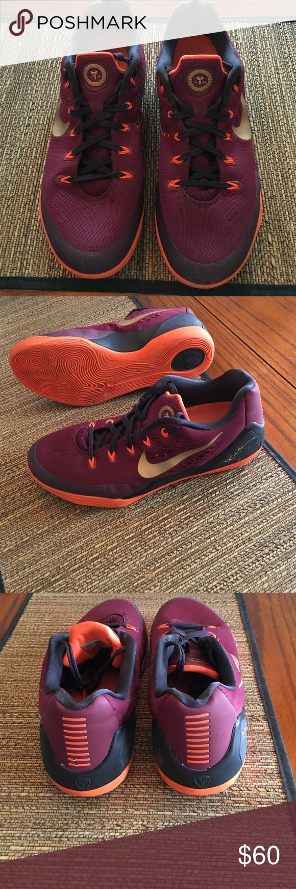 Kobe Nike Basketball Shoes men's size 9.5 Kobe Nike basketball shoes men's size 9.5.  Deep garnet (maroon), orange, and gold colors.  Lightly used.  Some small scuff marks on left toe.  Not super noticeable.  Overall in good condition! Nike Shoes Sneakers