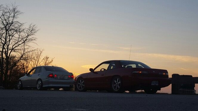 dylan's altezza in front of my s13 #nissan #240sx #silvia #s13silvia #schassis #s13 #ps13 #sil40 #toyota #altezza #sxe10 #sunset #tommykaira