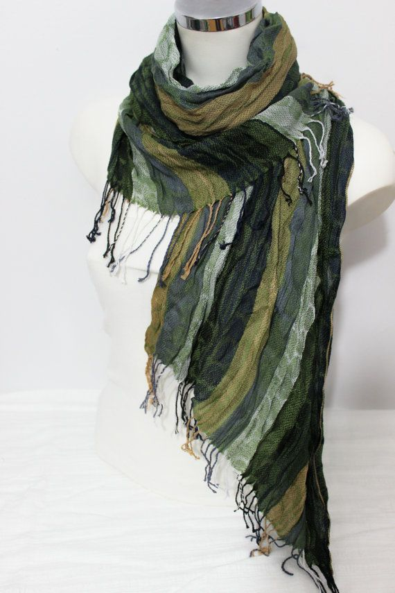 Men Green scarves Earth colors Ethnic scarves by Nazcolleccolors