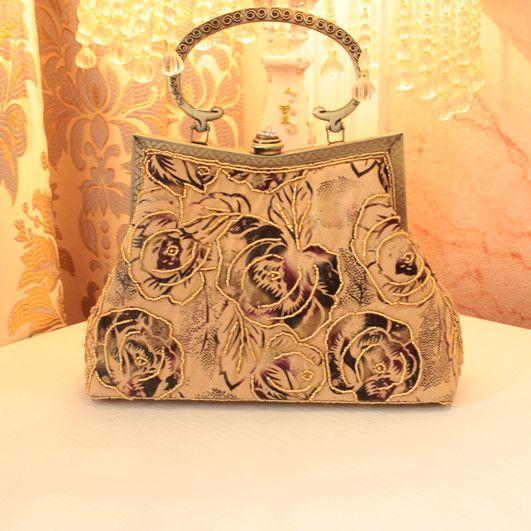 Урожай пион цветок сумки сумка из бисера новое прибытие 2014 цепи мешок мешок вечера банкет сумки мешка женщин маленькая 1228,01