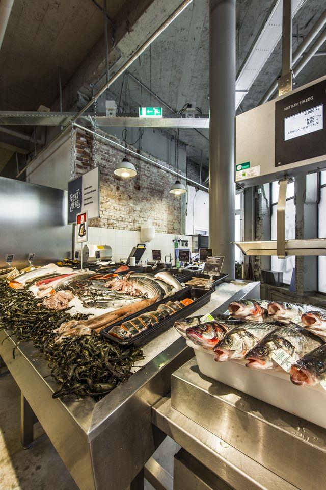 148 best store inside images on pinterest mass market for Fish market design ideas