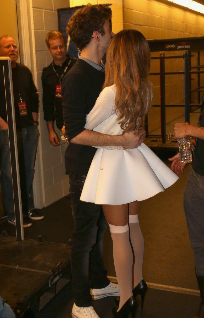 celebstarlets:  12/2/13 -Ariana Grande + Nathan Sykes backstage at 106.1 KISS FM's Jingle Ball Concert in Dallas.