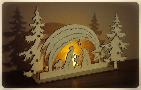 Vánoční betlém se svíčkou překližka laser ozdoby vánoce dř
