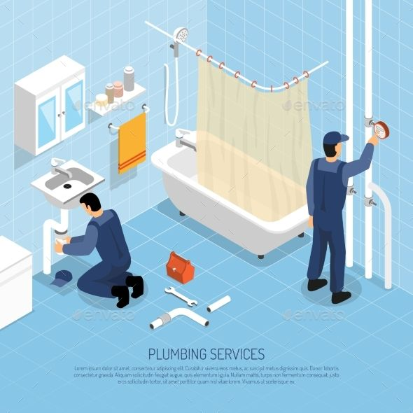 Plumber Isometric Illustration by macrovector Plumber with bath sink and pipes repair symbols isometric vector illustration. Editable EPS and Render in JPG format