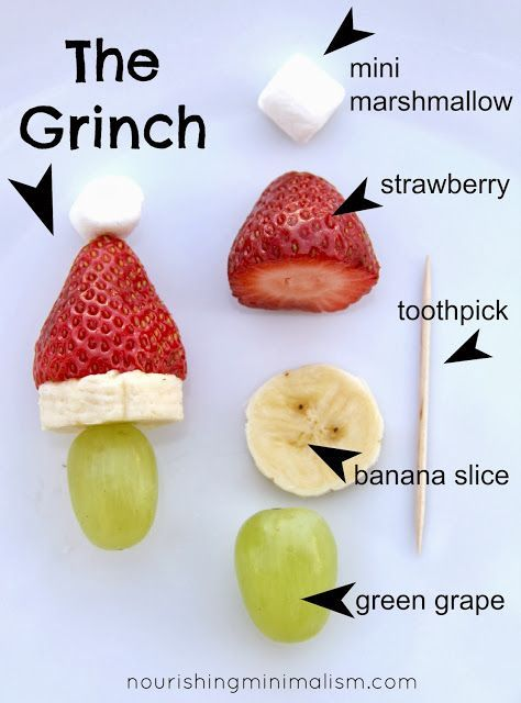 So cute! Grinch kabobs for Christmas in July!