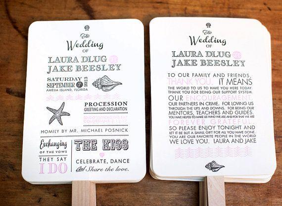 DIY Printable, Wedding Program Fans, Wedding Program, Wedding Fan.  Beach theme, destination wedding, Beach Wedding
