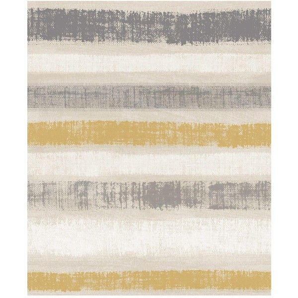 Arthouse Painted Stripe Grey &Amp; Ochre Wallpaper ($26) ❤ liked on Polyvore featuring home, home decor, wallpaper, grey pattern wallpaper, paper wallpaper, gray striped wallpaper, modern wallpaper and painted wallpaper