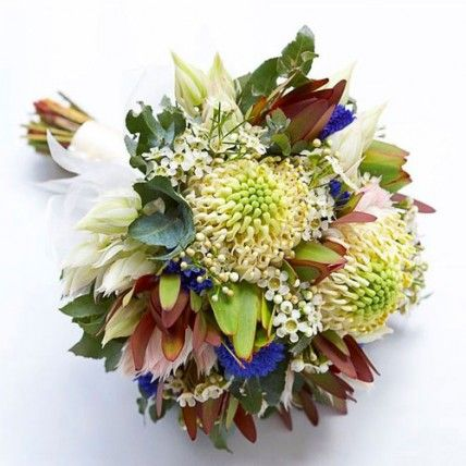 Australian Native Bridal Bouquet - White Warratahs, silvan reds, blushing brides, blue corn flowers, white wax and gum leaves create a cacophony of wild shapes and textures. Basia Puchalski Floral Design (Melbourne).
