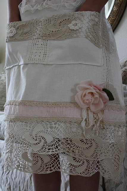Sweet Apron made from vintage linens.