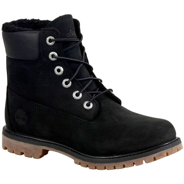 Timberland Women's Fleece-Lined Waterproof Winter Boot (£145) ❤ liked on Polyvore featuring shoes, boots, black, black boots, rubber boots, waterproof boots, water proof boots and water proof work boots