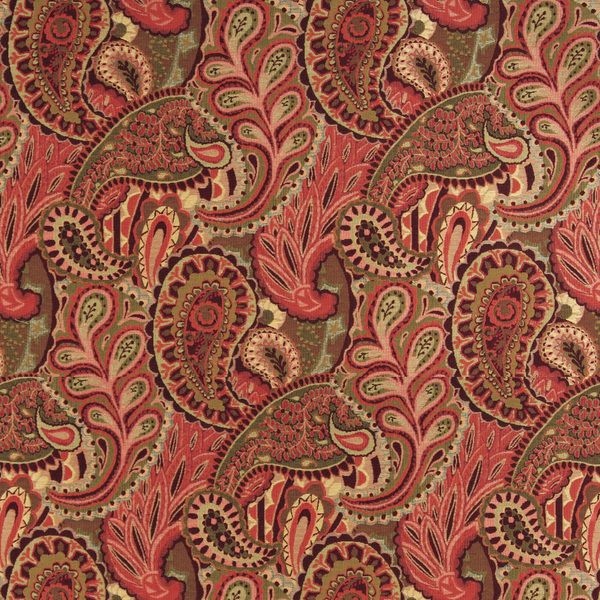 A0024B Burgundy Green Red Paisley Contemporary Upholstery Fabric