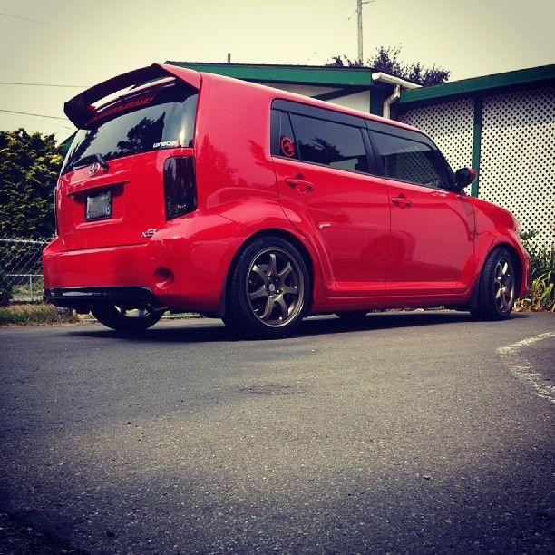 scion xb custom rims. scion xb red with wheels and wind deflector xb custom rims