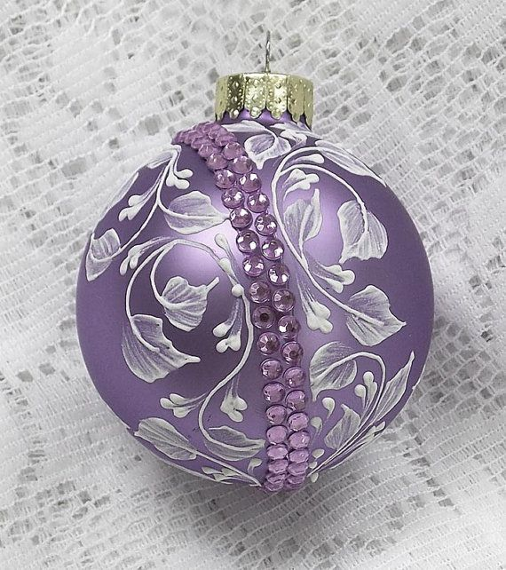 Soft Purple Hand Painted White 3D Floral Texture Design with Bling 324
