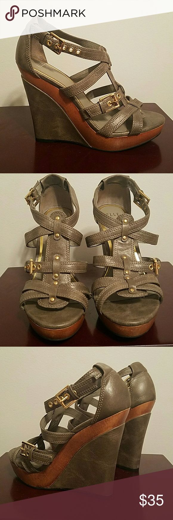 ELLE wedges Beautiful grey/taupe wedges with faux wood and gold detail. Elle brand purchased at Kohl's. Sadly they are way too small for me but they deserve to be worn! Open to offers Elle Shoes Wedges