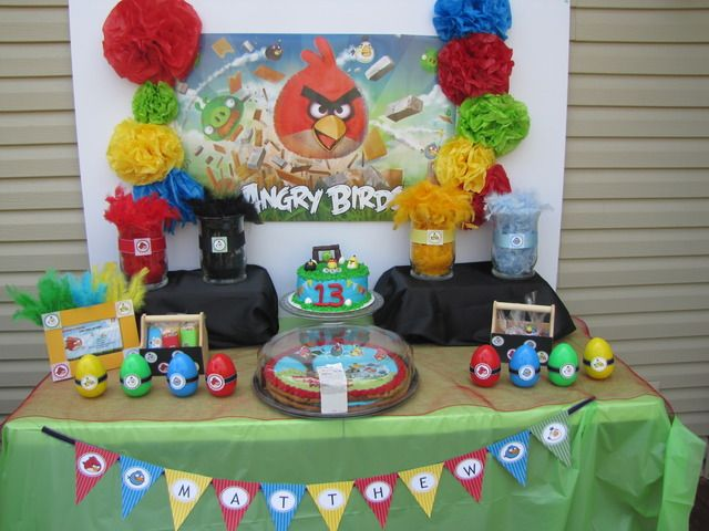 """Photo 18 of 19: Angry Birds / Birthday """"The blue angry bird says WEEEEEE.... Mathews turning 13""""   Catch My Party"""