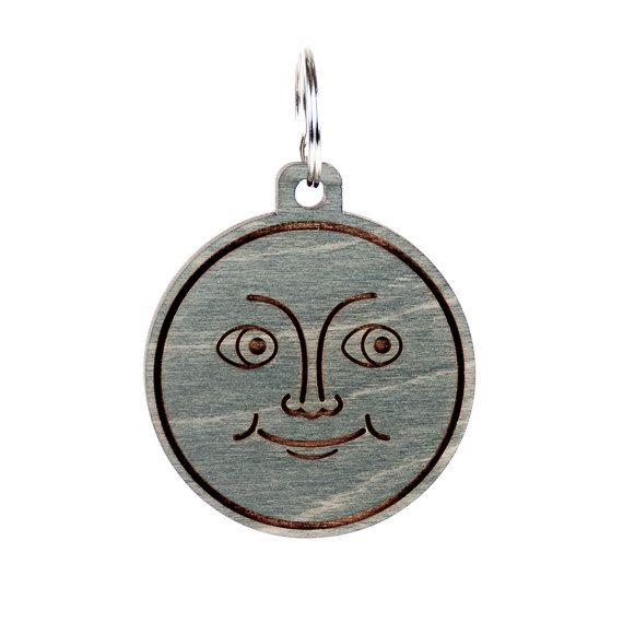 New Moon Emoji Keychain Moon Emoji Carved Wood Key by LadyMaggies
